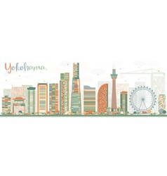 Abstract Yokohama Skyline with Color Buildings vector