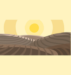 Agricultural field landscape plowed earth brown vector