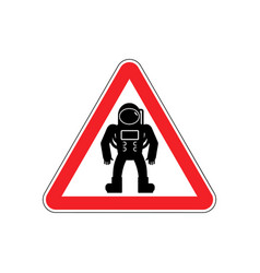 Astronaut warning sign red cosmonaut hazard vector