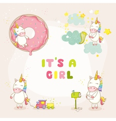 Baby Unicorn Set - Baby Shower or Arrival Card vector image