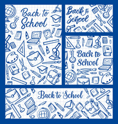 back to school education supplies on notepad vector image