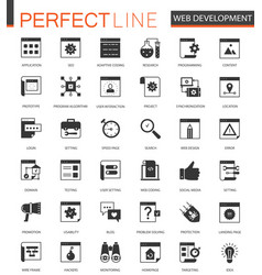 black classic seo and development icons set vector image