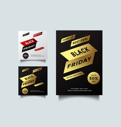 black friday social media and a4 flyer template vector image