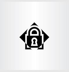 Black lock logo icon symbol vector
