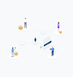 Blockchain supply chain isometric vector