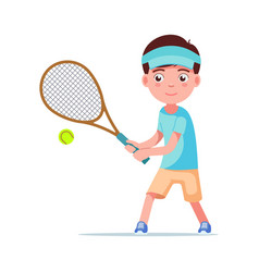boy tennis player beat ball with a racket vector image