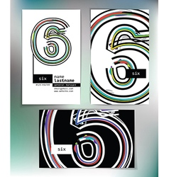 Business card design with number 6 vector