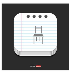 chair icon gray icon on notepad style template vector image
