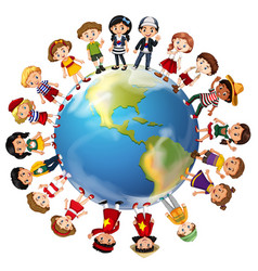 Children from many countries around the world vector