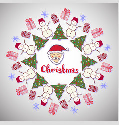 christmas decoration cute santa claus tree and vector image