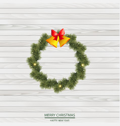 christmas wreath of pine tree branches vector image