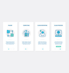 Cloud computing technology remote access ux ui vector