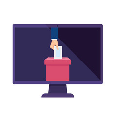 computer and hand with ballot box isolated icon vector image