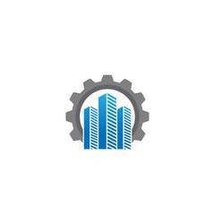 creative skyscrapers building gear logo design vector image
