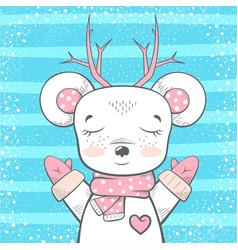 cute bear deer - baby vector image