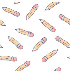 cute seamless pattern with doodle school pencils vector image
