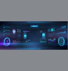 Cyberspace virtual reality in hud gui style vector