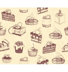 Dirty seamless background with sketches of cakes vector image