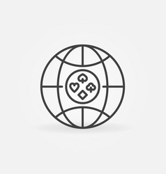 earth with playing cards suits line icon vector image