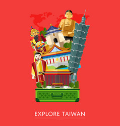 Explore taiwan banner with famous attractions vector