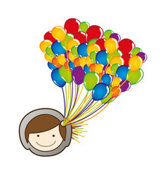 Face boy with balloons in the head vector