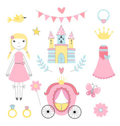 fairy tale pictures of princess and other magician vector image