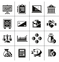Finance icons set black vector