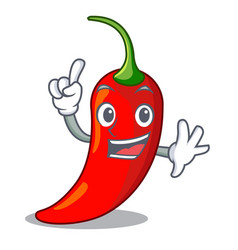 finger red chili pepper isolated on mascot vector image