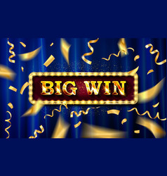 gold light big win retro signboard vector image