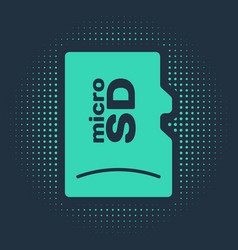 Green micro sd memory card icon isolated on blue vector