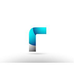 Grey blue alphabet letter r logo 3d design vector