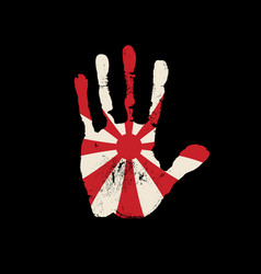 handprint in colors japanese navy flag vector image