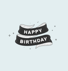 happy birthday vintage ribbon vector image
