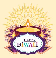 happy diwali festival light yellow background vector image