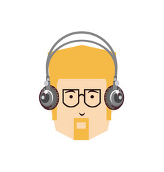 head of young man with headphone and eyeglasses vector image