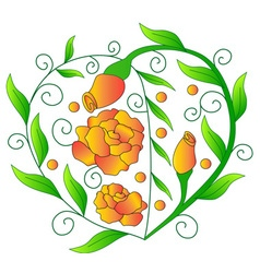 Heart from greens orange roses vector