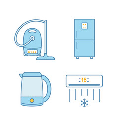 Household appliance color icons set vector