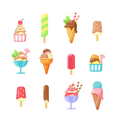 ice cream summer tasty snack cartoon vector image