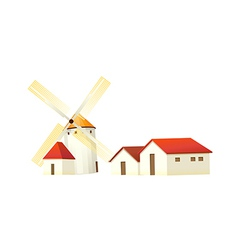 icon windmill and house vector image