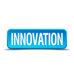 Innovation blue 3d realistic square isolated vector image