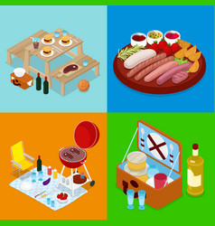 Isometric bbq picnic food summer holiday camp vector