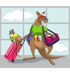 Kangaroo travels with a family vector image