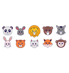 kawaii animals cute doodle cat tiger panda mouse vector image