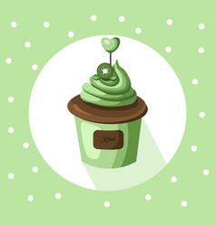 kiwi cupcake muffin dessert vector image
