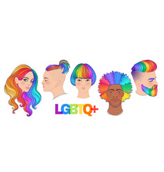 Lgbt people with rainbow hair non binary people vector