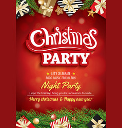 merry christmas party and greeting card on red vector image
