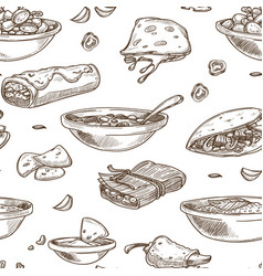Mexican food cuisine traditional dishes sketch vector