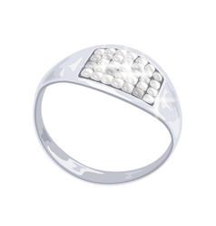 Modern stylish platinum ring with brilliant cut vector