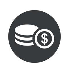 Monochrome round dollar rouleau icon vector