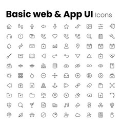 most popular basic web and app ui icon set vector image